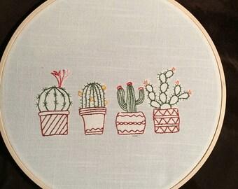 10 inch Round Hooped Cactus Art