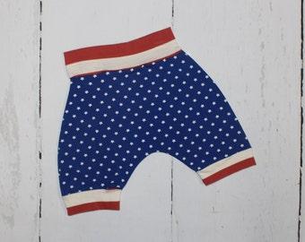 Stars & Stripes Harem Shorts, Summer Knee Length Harem Shorts, 4th of July, Patriotic, Red stripe, white Stars on blue