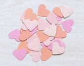 Pink and Coral Heart Confetti, Wedding confetti, handmade confetti, birthday party, table scatters, princess party, girls party, weddings