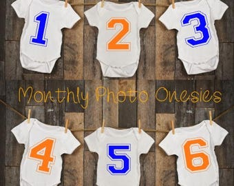 12 SPORTS NUMBERS Custom Team Color Monthly Personalized Photo Bodysuit Baby Shower Set boy girl unisex- Any 2 Team Colors