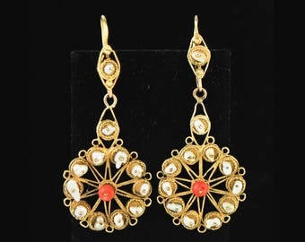 Antique Mexican 12K Gold Pearls and Coral Filigree Earrings