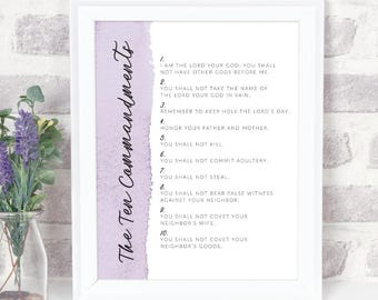 The Ten Commandments | Christian Scripture Artwork | 8x10 Print