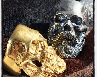 Sterling Silver Skull Beard Ring Skull Bearded Man Ring Boxer Ring Beard Ring Long Beard Skull Ring Biker Skull Ring Beard Ring Beard Biker