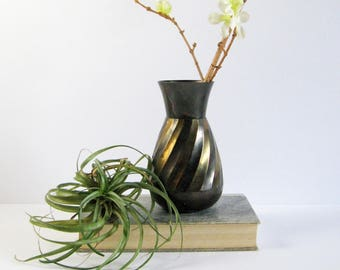Vintage Brass Flower Vase - Black and Gold Spiral Pineapple Shape Brass Home Decor - Wedding Table Decor - Air Plant Holder - Pencil Holder