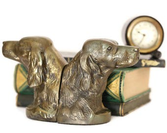 Brass Dog Bookends, Metal Dog Bookends, Retriever Bookends, Setter Bookends, Spaniel Dog Bookends, Hunting Dog Bookends, Man Cave Decor