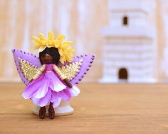Flower Fairy Doll - flower fairies, black fairy doll, black fairies, miniature fairy doll, miniature fairies, waldorf fairy doll, pixie