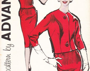 Advance 9970 Vintage Gusseted Dress and Jacket Sewing Pattern 32 Bust