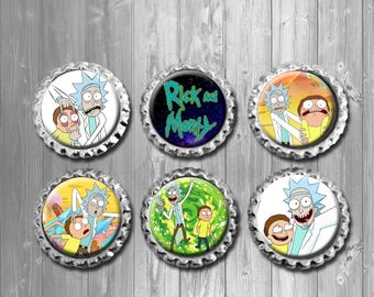 Rick and Morty Bottle Cap Magnets - Set of 6