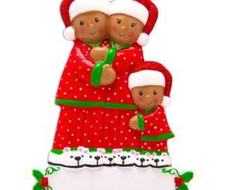 Brown Family of 3 in Pajamas Personalized Christmas Ornament / African American / Family Ornament / Personalized Ornament