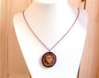 Baby Hedgehog Pendant, Small Hedgehog Necklace, Wood Slice Pendant, Wood Jewelry, Wood Burned Pendant, Pyrography, Wooden Pendant