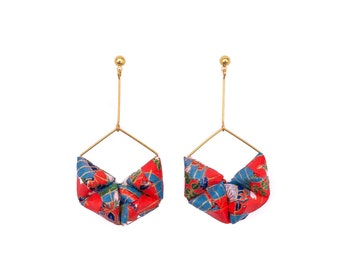 Origami Earrings; Origami Jewelry, Origami Jewellery; Origami; Paper Jewelry; Japanese Paper; Japan; Fashion Accessories; Red, Blue