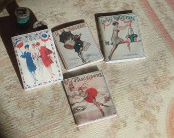 Dollhouse Four Vie Parisienne 1900  Magazines . Miniature 1:12 Retro Ladies Magazines for Dollhouse