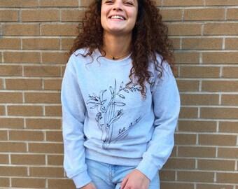 Let it go grey crewneck - soft sweater - flower sweater - Lovestruck prints