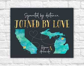 Custom Gift for Long Distance Relationships, Joined by Love, Watercolor Style Maps, United States, Distance Quote, Gold Accents | WF350