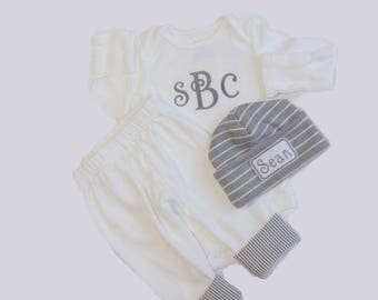 Baby Boy Coming Home Outfit. Monogram Bodysuit. Hospital Hat. Pants with Seersucker cuff. Coming Home from Hospital. Newborn Baby Boy Outfit
