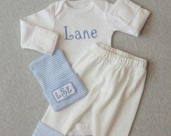 Baby Boy Coming Home Outfit. Newborn Boy Clothes. Name Embroidered Bodysuit. Pants with Seersucker Cuffs. Monogram Newborn Hospital Hat