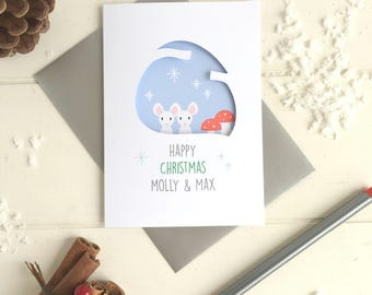 Couple's mouse christmas card - personalised couple's card - first christmas card