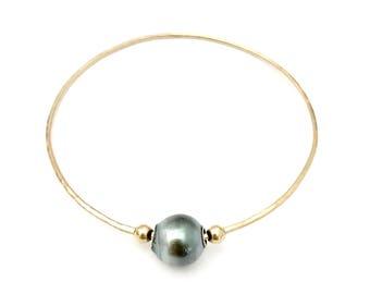 Tahitian Pearl Bangle, Thin Bangle, Pearl Bracelet, Hawaii Jewelry