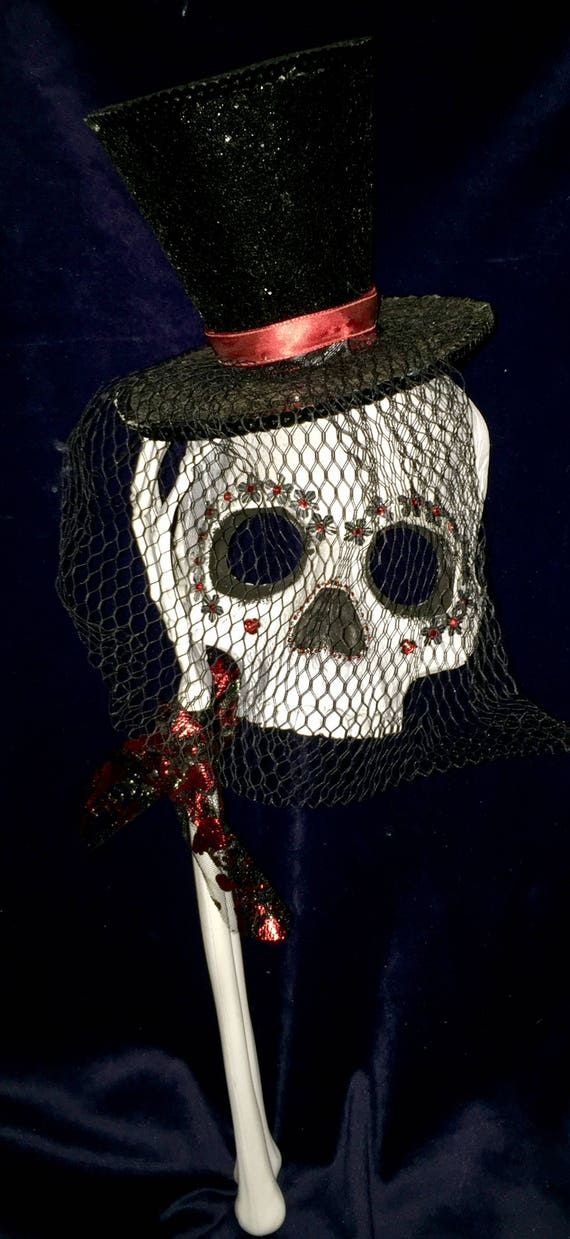 Veiled Sequined Top Hat Original Day Of The Dead Sugar Skull Masquerade  Dia De Los Muertos Biohazard Baby Mask