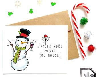 French card - Christmas card - holiday card - seasonal card -funny christmas card - wine card - snowman illustration - Noël blanc ou rouge