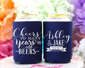 Cheers to Many Years & Cold Beers, Wedding Can Cooler, Monogram Favor, Rustic Wedding Favor, Beer Can Cooler, Personalized Can Cooler