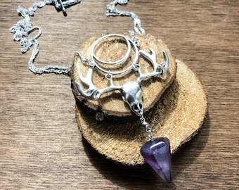 Devinity into the Woods - natural witch -amethyst - long necklace - deer skull necklace - moon
