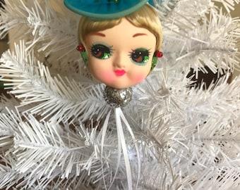 Vintage Upcycled Bradley Doll Head Christmas Tree Ornament Decoration Big Eyes Mid Century Mod Holiday Glittered OOAK Retro 1970's