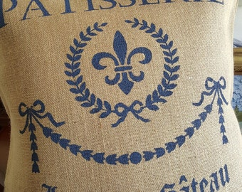 Burlap Pillow Cover| French Patisserie Pillow | Coal | French Blue | Ruby | Pillow Cover