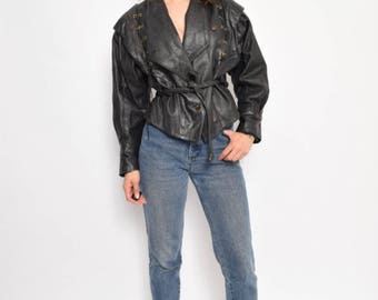 Vintage 80's Lace Up Black Real Leather Motorcycle Jacket
