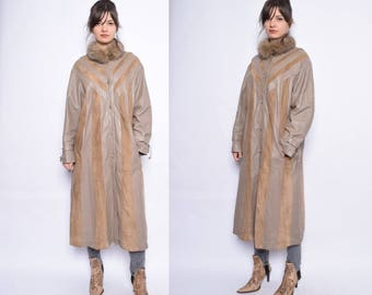 Vintage 80's  Patchwork Real Leather Coat / Brown Genuine Leather Oversized Maxi Coat - Size Large