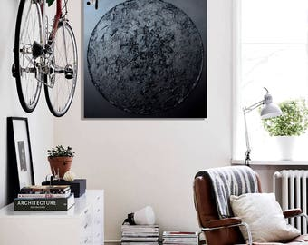 black painting / Home Decor / Wall Decor / Minimalist Art / Abstract Art / Modern Wall Art / Large Wall Decor / Gift for Her/Black Abstract