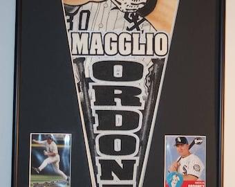 Chicago White Sox Magglio Ordonez Pennant & Cards...Custom Framed!!!