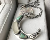 Sea Glass And Turquoise Floral Moon Mermaid Tears Pendant Stamped Hand Forged Necklace