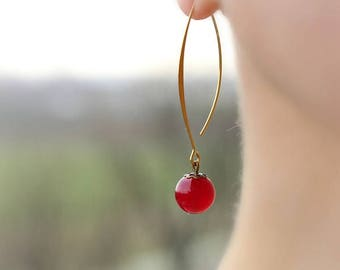 Red Agate Earrings Gemstone Earrings Natural Stone Earrings Agate Jewelry Red Long Simple Red Beaded Earrings Agate Jewelry Gift Red Beaded