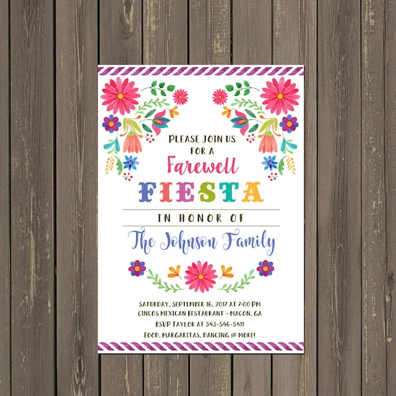 Mexican Fiesta Going Away Party Invitation, Farewell Party ...