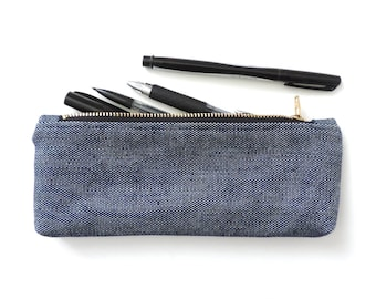 Canvas Pencil Case Zipper Pencil Pouch Navy White