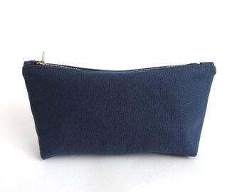 Canvas Cosmetic Bag Pouch Blue