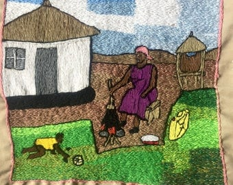 SOLD - Town of Nebbi Embroidered Wall Art - Handmade in Uganda - This piece has been SOLD