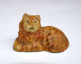 Antique dollhouse cat cold painted cast metal bronze oil painted orange yellow striped tabby cat 2.75 inch long