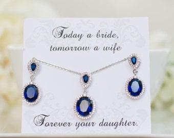 Blue Sapphire Sets | Earring & Pendant Bridesmaid Set | Bridesmaid Gifts | Bridesmaid Earrings | Personalized Bridesmaid | Navy Blue Wedding