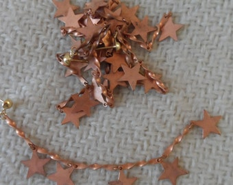 "Raw copper coated star earrings,4&1/4"",6pcs-ERG136"