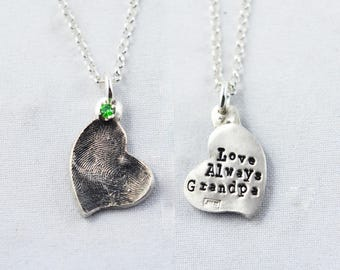 Fingerprint Necklace, Fingerprint Jewelry - Heart Shaped Fingerprint Pendant with birthstone and name on the back