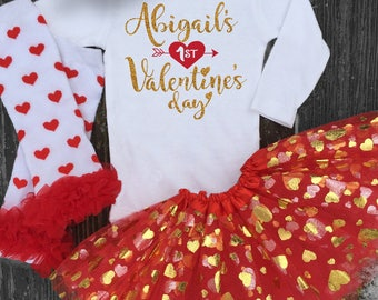 My First Valentines Day Personalized Gold Onesie Baby Girls 1st Valentines Day Outfit w Heart Leg Warmers and Gold Heart TUTU