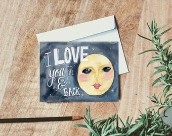 To the Moon Card - Love & Anniversary Cards - Valentines Day Card - Gift for Wife