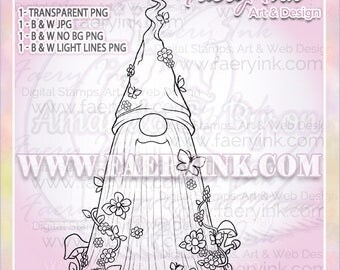 Butterflies Tomte Gnome Spring UNCOLORED Digital Stamp Image Adult Coloring Page jpeg png jpg Fantasy Craft Cardmaking Papercrafting DIY