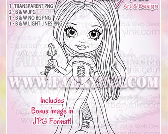 Goth Girl Gothic Rose Fairy Fae UNCOLORED Digital Stamp Image Adult Coloring Page jpeg png jpg Fantasy Craft Cardmaking Papercrafting DIY