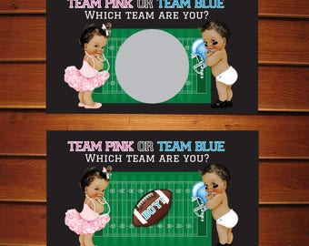 Football Gender Reveal Scratch Off Cards •  Baby Shower • Set of 10 Tickets