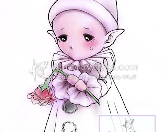 Digital Stamp - Pierrot Sprite - Little French Pantomime Whimsical Fantasy Line Art for Cards & Crafts by Mitzi Sato-Wiuff