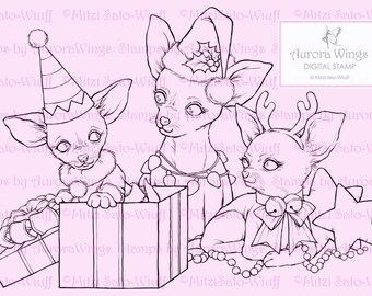Digital Stamp - Christmas Chihuahuas - Instant Download - digistamp - Holiday Animal Line Art for Cards & Crafts by Mitzi Sato-Wiuff