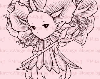 Amaryllis Sprite - Aurora Wings Digital Stamp - Christmas Holiday Flower Fairy - Fantasy Line Art for Arts and Crafts by Mitzi Sato-Wiuff